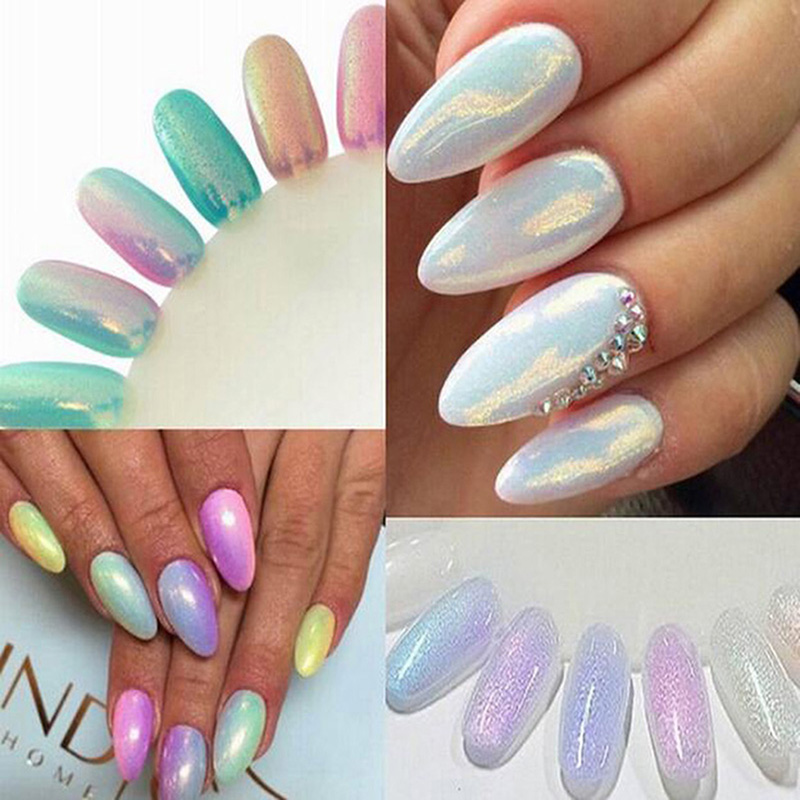 2019 10g / Pakke Brand New Mermaid Effect Nail Glitter Pulver Nail Art Decoration Magic Shimmer Pulver Krom Akryl Dust Manicure