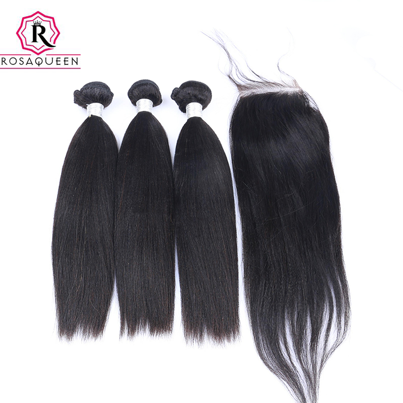 Yaki Straight Brazilian Hair Weave Bundles 3 Human Hair Bundles With Closure 4 Pcs Remy Coarse Yaki Rosa Queen Hair Products