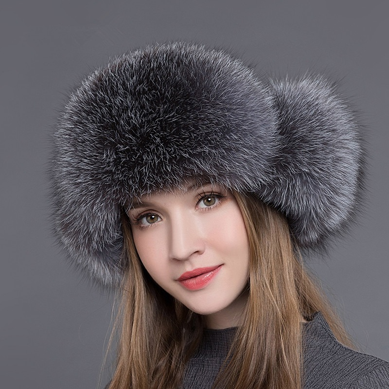 25ace6555 new natural sliver fox raccoon fur cap genuine leather warm ear hat ...