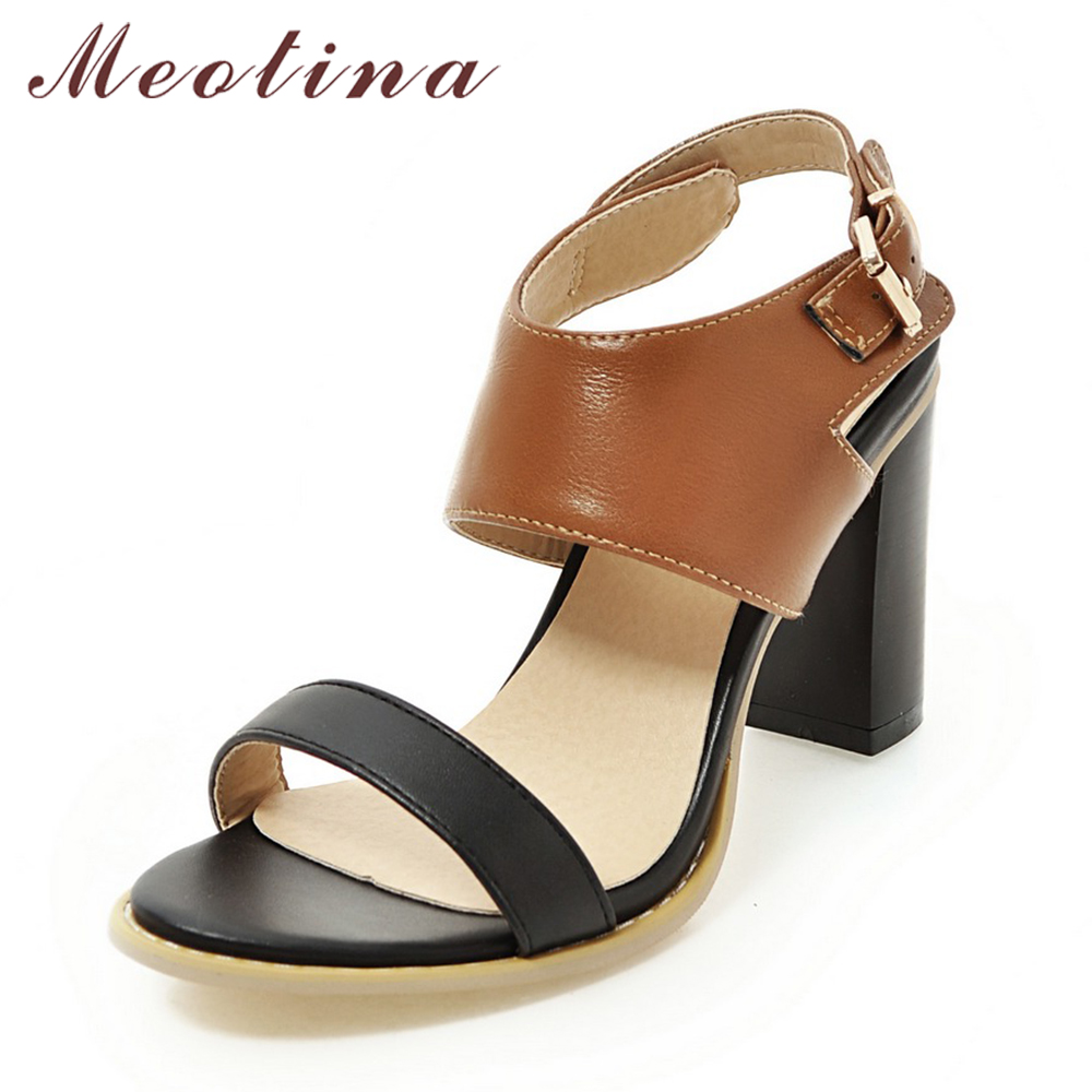 Meotina Women Sandals Gladiator Sandals High Heel Office Lady Pumps Rome Woman Shoes Thick High Heels Black Brown Plus Size 9 43