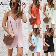 Plus size 4XL 5XL Boho Cami Dress Women Spaghetti Strap Single-breasted Weekend Casual Dress 2019 New Summer Loose Short Dress curved hem single breasted cami dress
