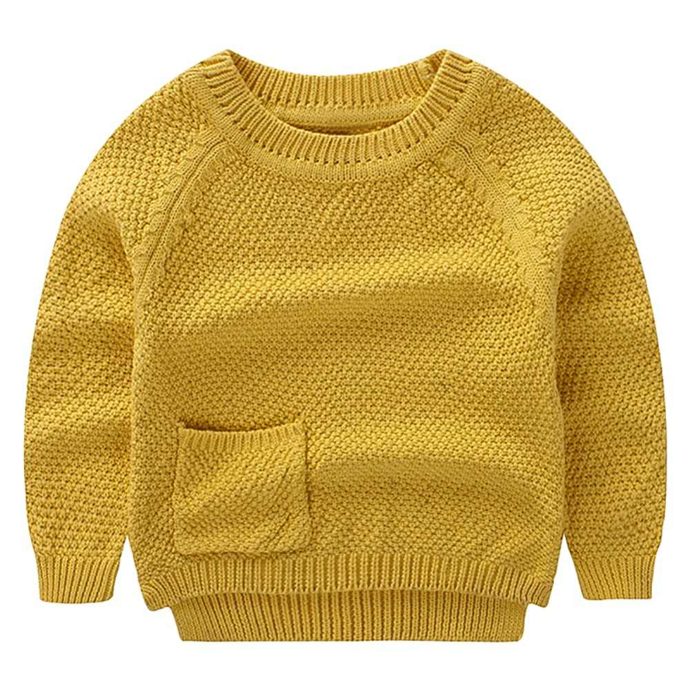 29e6d990f 1-3 Year Yellow Color Baby Boys Girls Crochet Sweater Cotton Cardigans  Pullover Full Sleeves