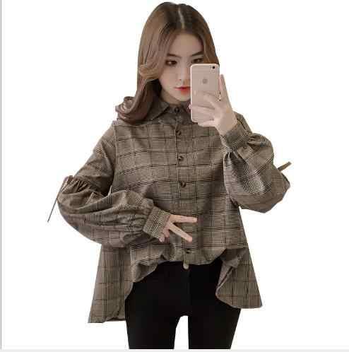 Харадзюку клетчатая женская блузка с длинным рукавом и отложным воротником с бантом kawaii женская рубашка спереди короткая сзади длинные Необычные блузки E540