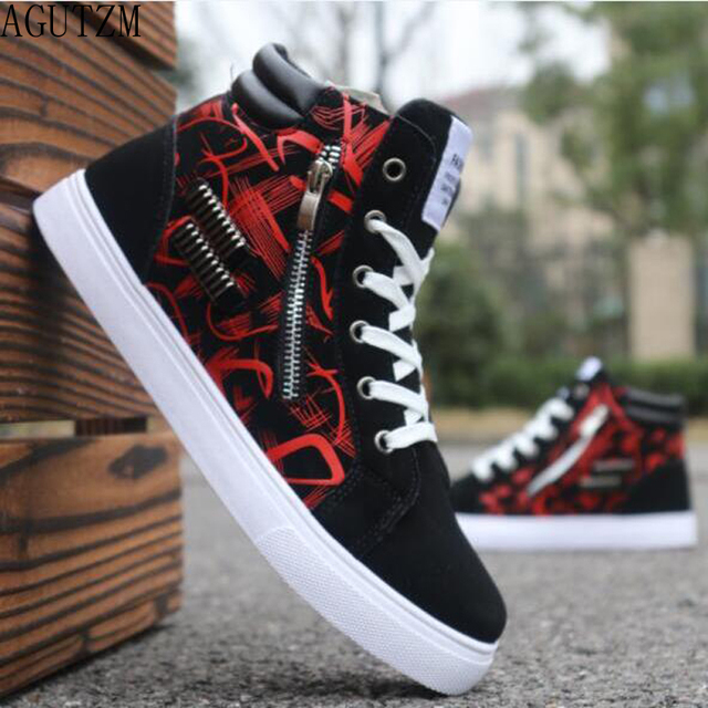 AGUTZM Men's Vulcanize Shoes Men Spring Autumn Top Fashion Sneakers Lace-up High Style Solid Colors Man Shoes W105