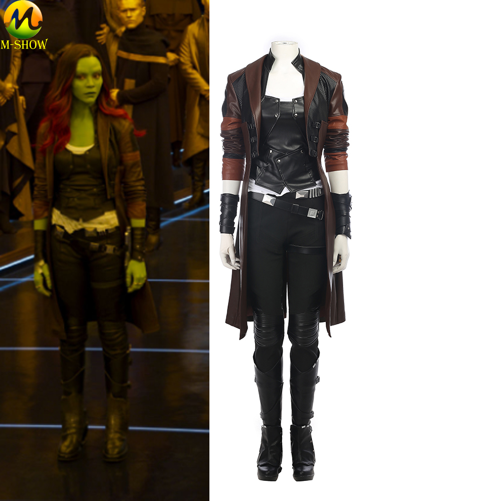 Guardians of The Galaxy 2 Cosplay Costume Adult Women Gamora Cosplay Costume Full Set For Halloween Custom Made
