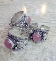 Christmas Gift Free Shipping 10pcs High Quality Tibet Silver Carved Lace inlay Pink Crystal Bead Nepal Ring Adjustable Size