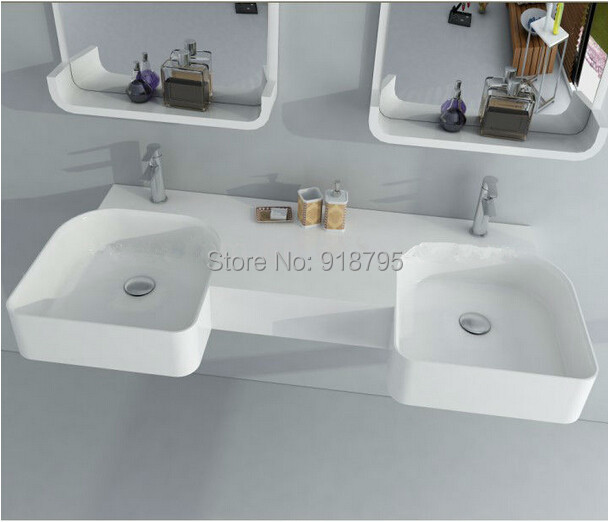 Solid Surface Bathroom Sink: Rectangular Matt Solid Surface Stone Wall Hung Wash Sink