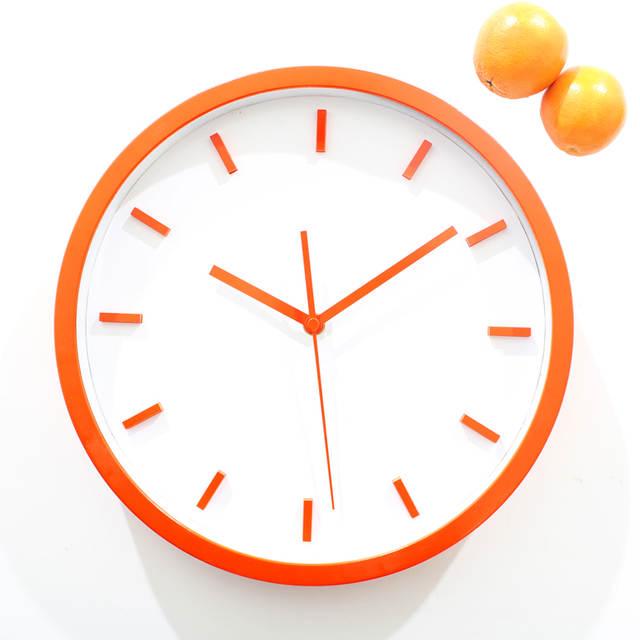 Simple Stereoscopic Orange Wall Clock Fashion Creative Quartz Art 12 Inch Modern Home Decor Free Shipping