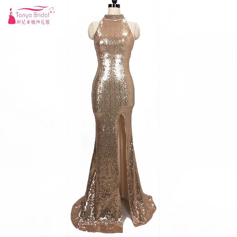 Gold Sequined Mermaid   Bridesmaid     Dresses   special Cut Backless Long Formal Gowns Side Split Wedding Guest   Dress   ZB028