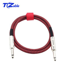 6.35mm Audio Cable Electric Guitar Cable Bass Musical Instrument Cable Cord Straight Angle 180 Degree 6.35 Male Plug 3 Meter instrument guitar bass cable cord transparent red 6m length