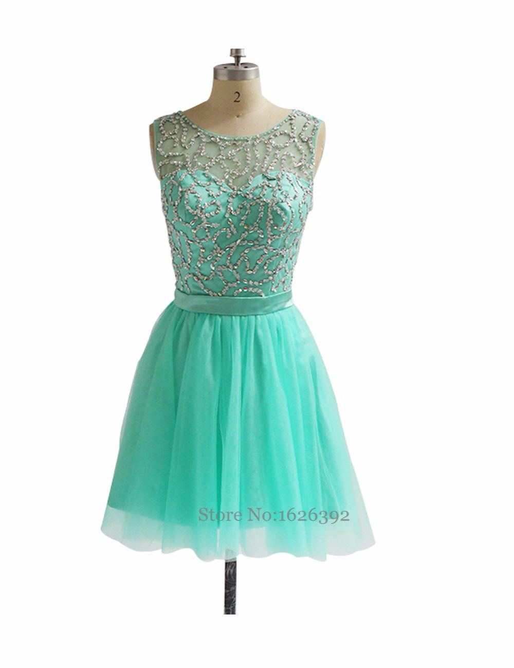 2017 Real Model Mint Green Cocktail Dress Cap Sleeve See