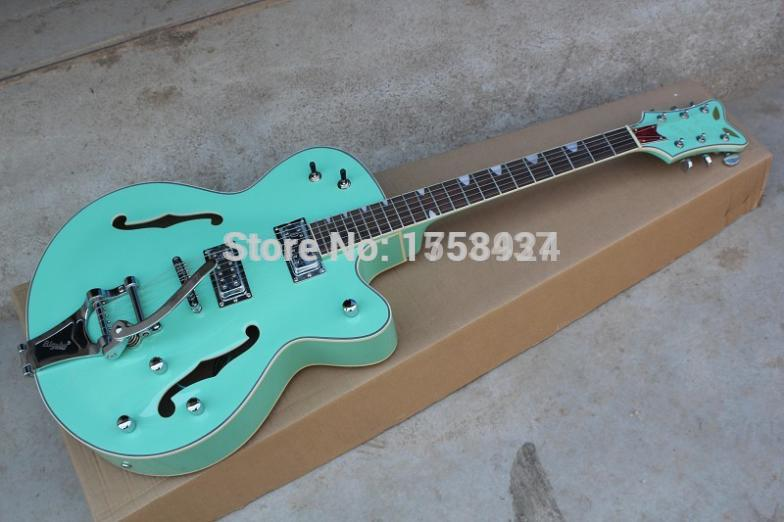 цена на Free Shipping hot New Arrival Top Quality Gretsch Falcon JAZZ Semi Hollow with Bigsby Tremolo green Electric Guitar In Stock