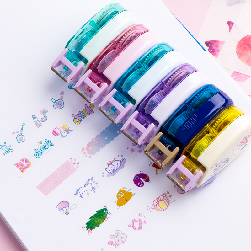 Ins Unicorn Travelling Decorative Pen Correction Tape Diary Scrapbooking Stationery School Supplies Students Gifts