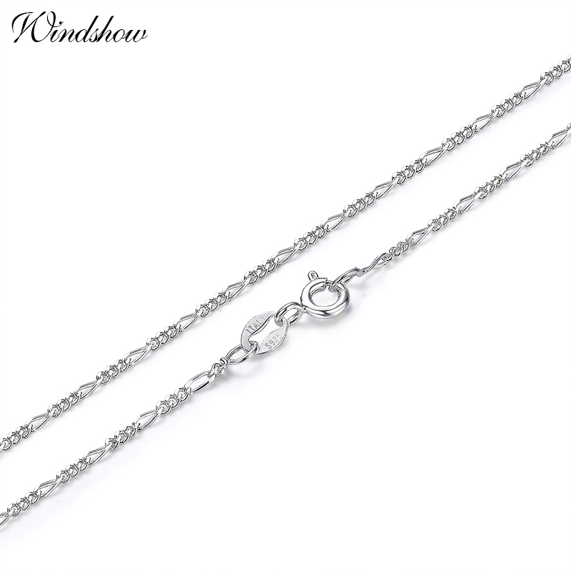 35-70cm Slim 925 Sterling Silver Figaro Chain Necklace Womens