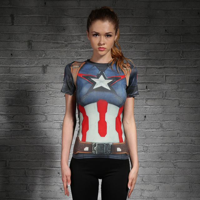 new women superman tops shirts compression t shirt superhero fitness tights under tees camiseta
