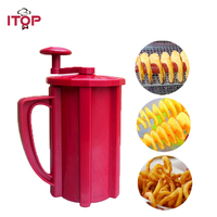 ITOP 3 in 1 Multifunctional Manual Red Twisted Potato Apple Slicer Spiral French Fry Cutter