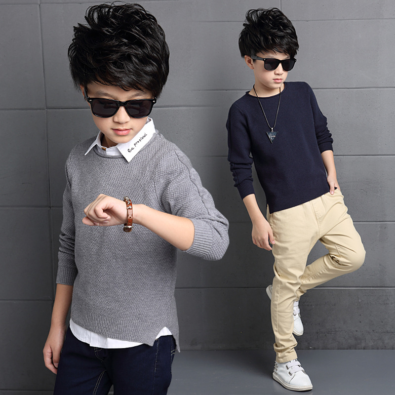 2016 autumn boys casual pullover knitted sweater for children side slit blue gray khaki big kids