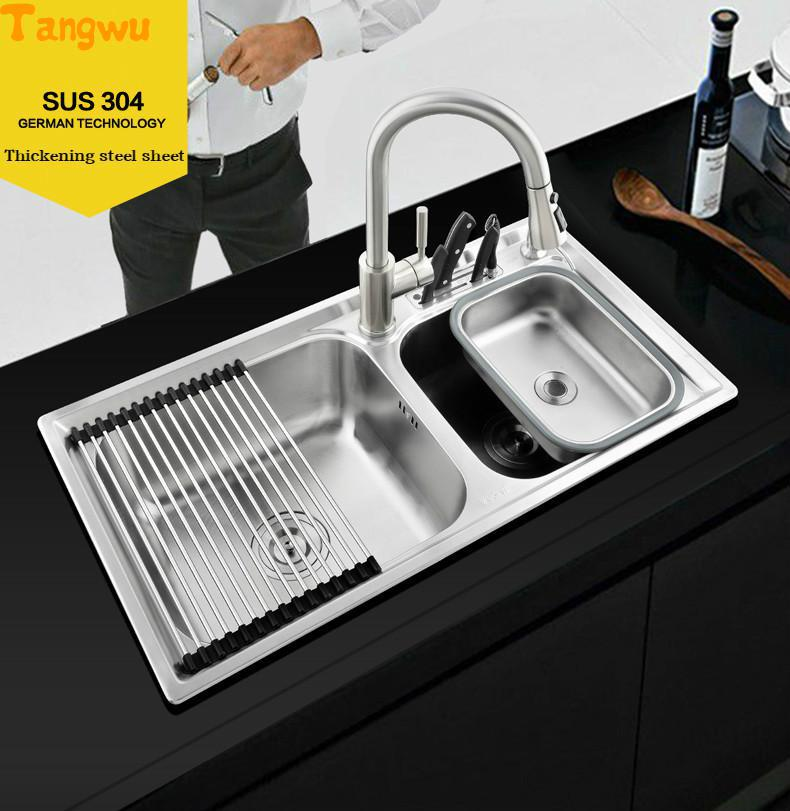 Kitchen Sinks Tangwu kitchen 304 stainless integral forming wire drawing wash dish basin double trough upset kitchen sink
