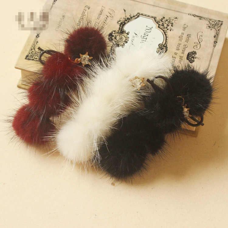 5 pçs diy pompom 3cm vison pompons bolas de pele para costura em malha chaveiro cachecol sapatos chapéus de pele pom diy artesanato acessórios