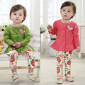2016 Baby Girl Outfits suit 2-Piece Long sleeve O neck coat + baby pants Floral Leggings 9-24M girl clothes 100% cotton outwear