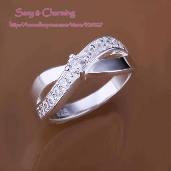 R162 free shipping! Silver Plated zircon crystal crossed finger rings size 7,8 fashion jewelry welcome mixed wholesale