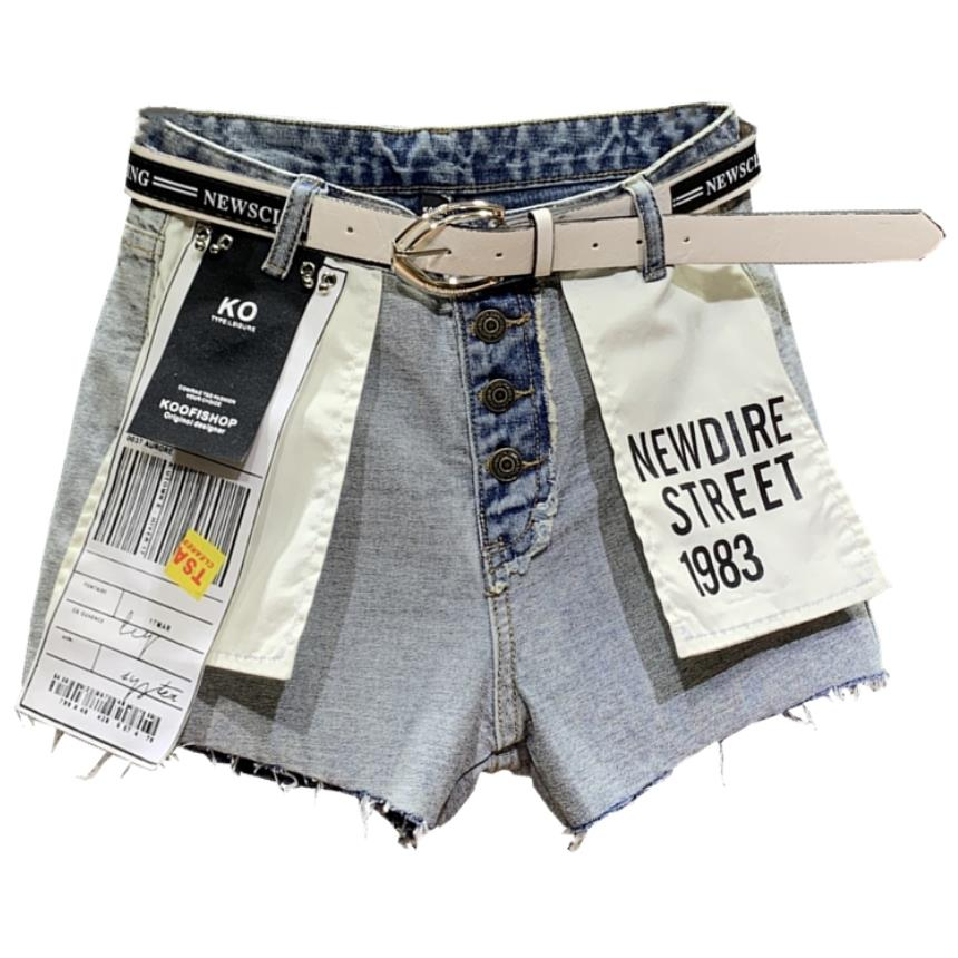 2019 summer Distressed fashion denim   shorts   personality hit color patchwork women loose jeans   shorts