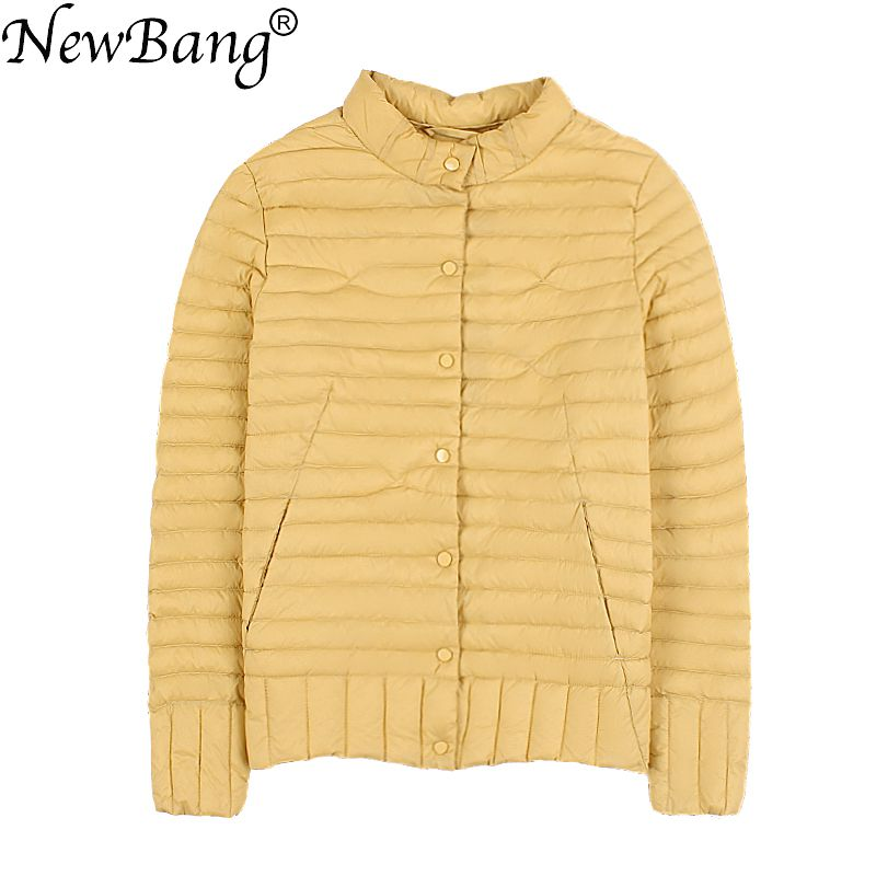 NewBang Brand Women's   Down   Jacket Ultra Light   Down   Jacket Women Short   Coat   Feather Slim Standing Collar Warm Jackets