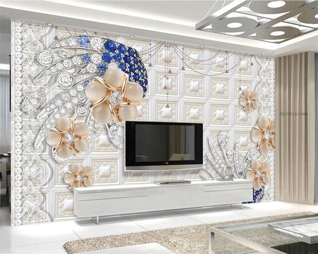 Beibehang Custom tapete Natürliche Diamant Perle Blume Romantische ...