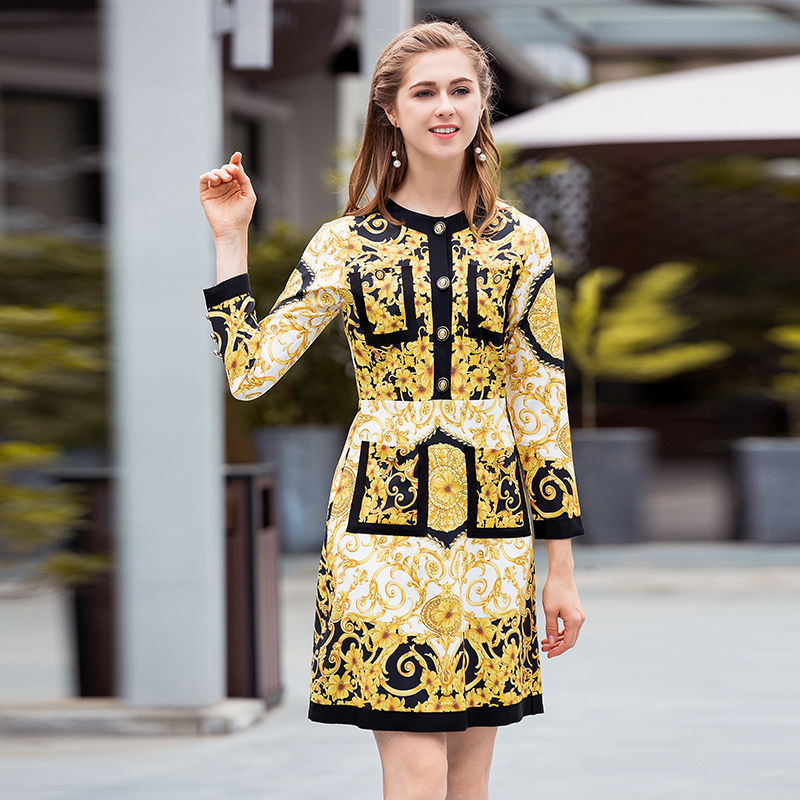 2019 Spring Pretty Print Dress Women High Quality Yellow Full Sleeve O_neck Above Knee Mini Female Vintage Dress
