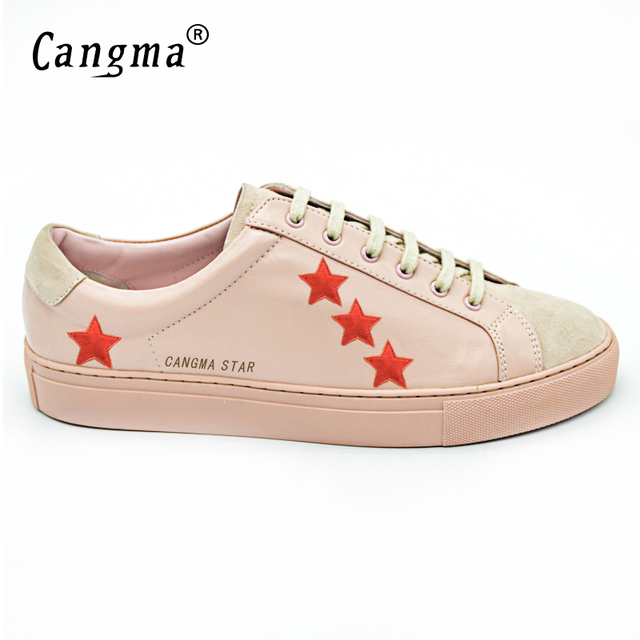 CANGMA Men Shoes Luxury Brand Lace Up Original Superstar Men Genuine Leather Sheepskin Casual Pink Low Top Shoes Schapenvacht