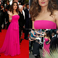 Fuchsia Pink Oscar Dress Gorgeous Strapless Chiffon Prom Gown Red Carpet with Sash New Arrival Celebriry Dress