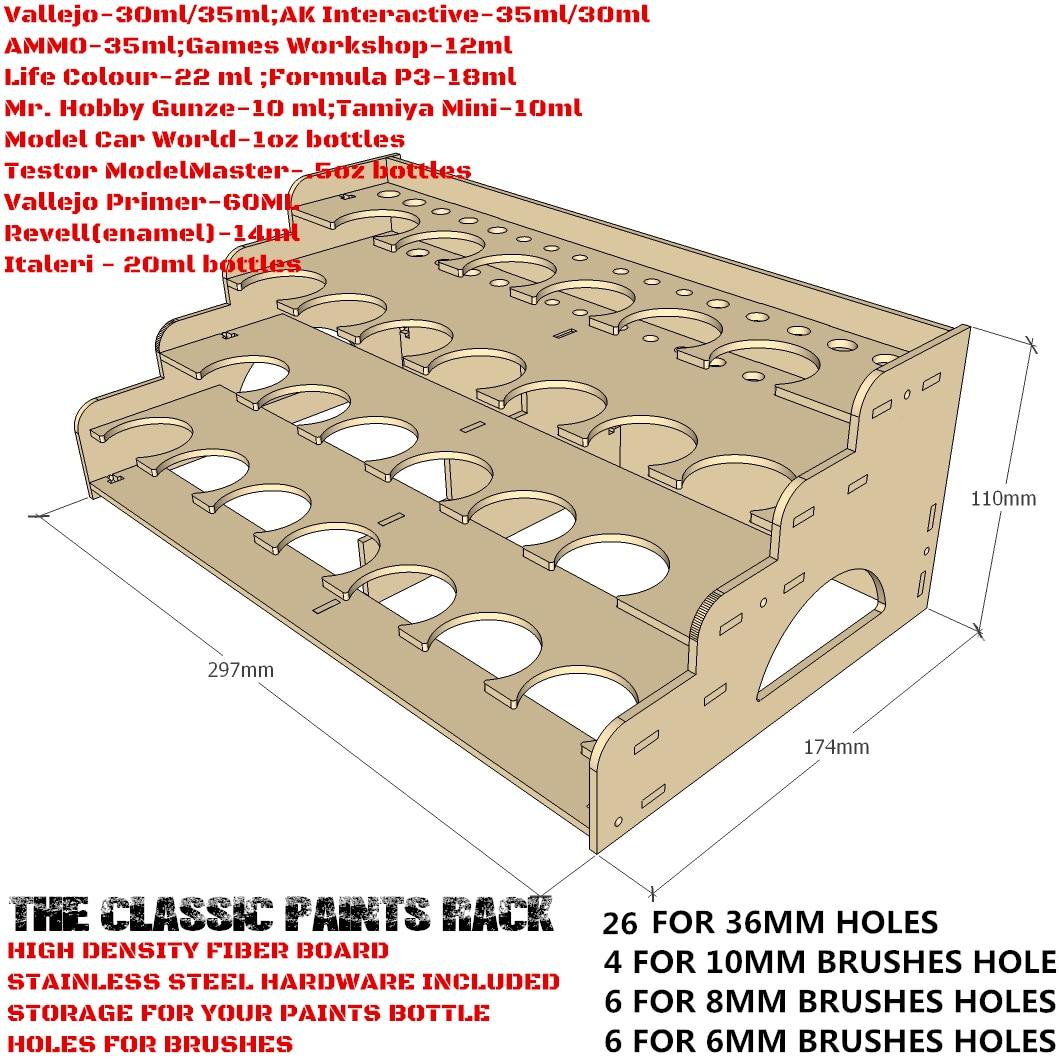36mm Hole - Citadel 26 Paints Rack - Laser Cut Wood - MDF Paints Rack