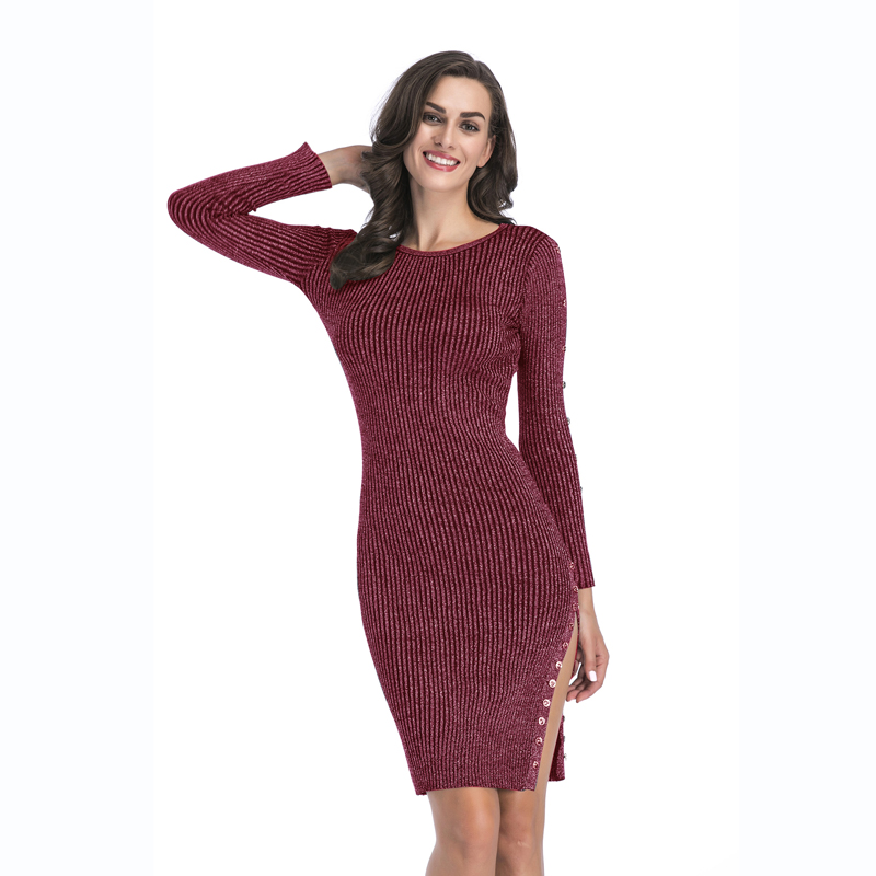 YYFS Free Shipping Women Spring Summer Casual Knitted Sweater Dress Long Full Sleeve Button Decoration O Neck Open Fork Dress женское платье summer dress 2015cute o women dress