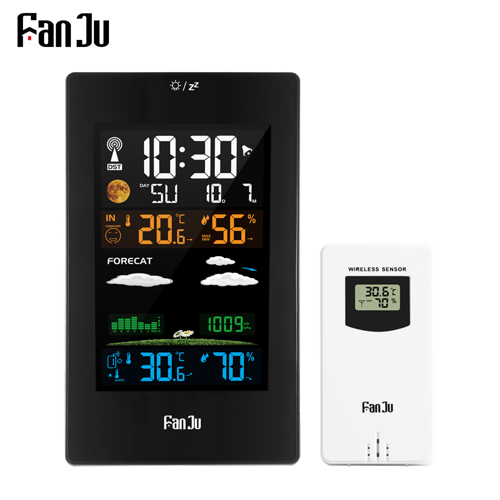 FanJu FJ3389 Weather Station Digital Thermometer Hygrometer Wireless Sensor LCD Color Alarm Calendar Wall Table Watch