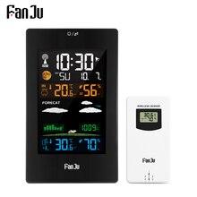 FanJu FJ3389 תחנת מזג דיגיטלי מדחום מדדי לחות חיישן אלחוטי LCD צבע מעורר לוח שנה קיר שולחן שעון שולחן שעון