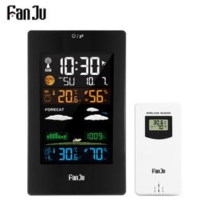 Image 1 - FanJu FJ3389 תחנת מזג דיגיטלי מדחום מדדי לחות חיישן אלחוטי LCD צבע מעורר לוח שנה קיר שולחן שעון שולחן שעון