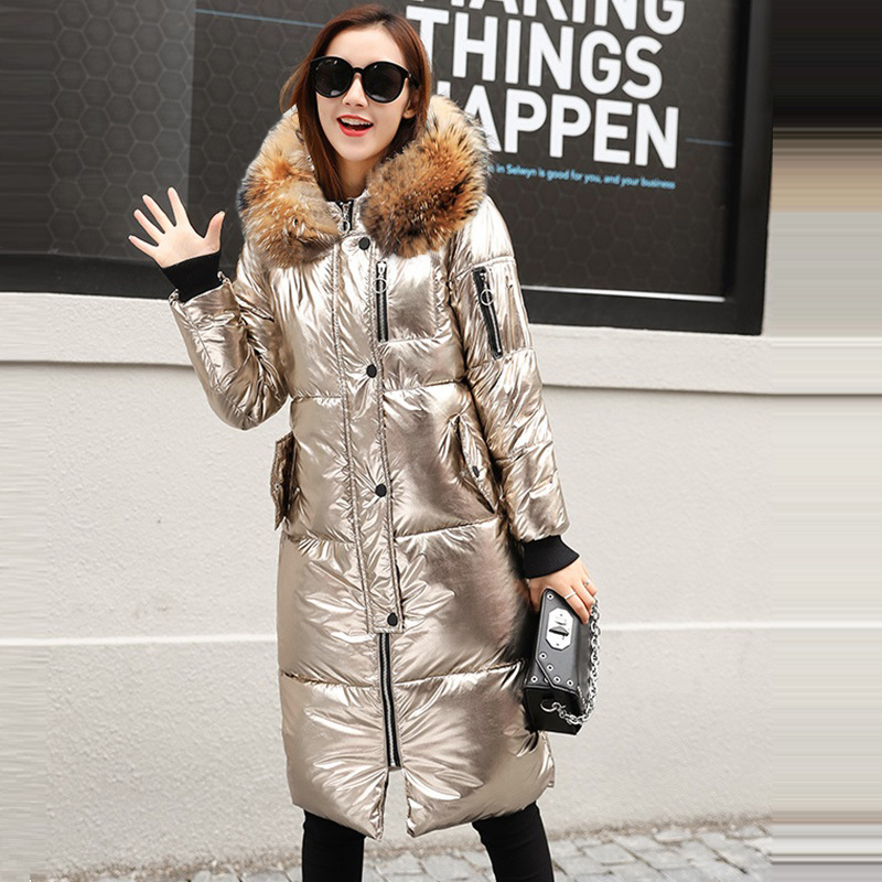 Big Real fur Women winter jackets long warm coat Silver Gold color style female jacket 2019 ladies parka abrigos mujer invierno-in Parkas from Women's Clothing    1