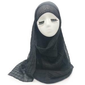 Image 5 - חדש 30 צבעים קפלים רשת רגיל אלסטי צעיף אופנה צעיף נשים ילדי מוצק צעיפים מובלט המוסלמי hijabs אופנה צעיפים