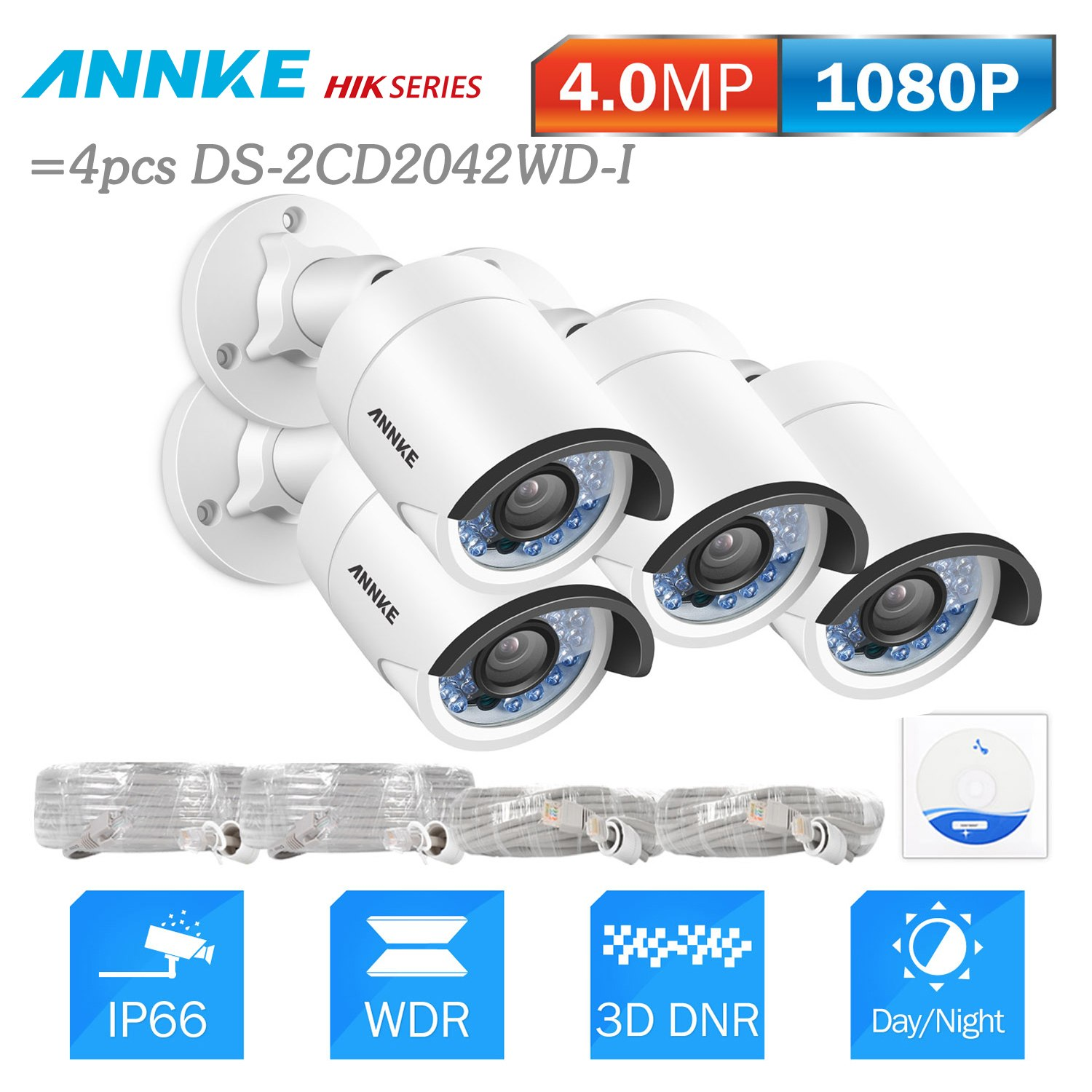 ANNKE 4pcs 4MP HD POE Security Bullet IP Camera 30M Night Vision With IP66 Outdoor Weatherproof