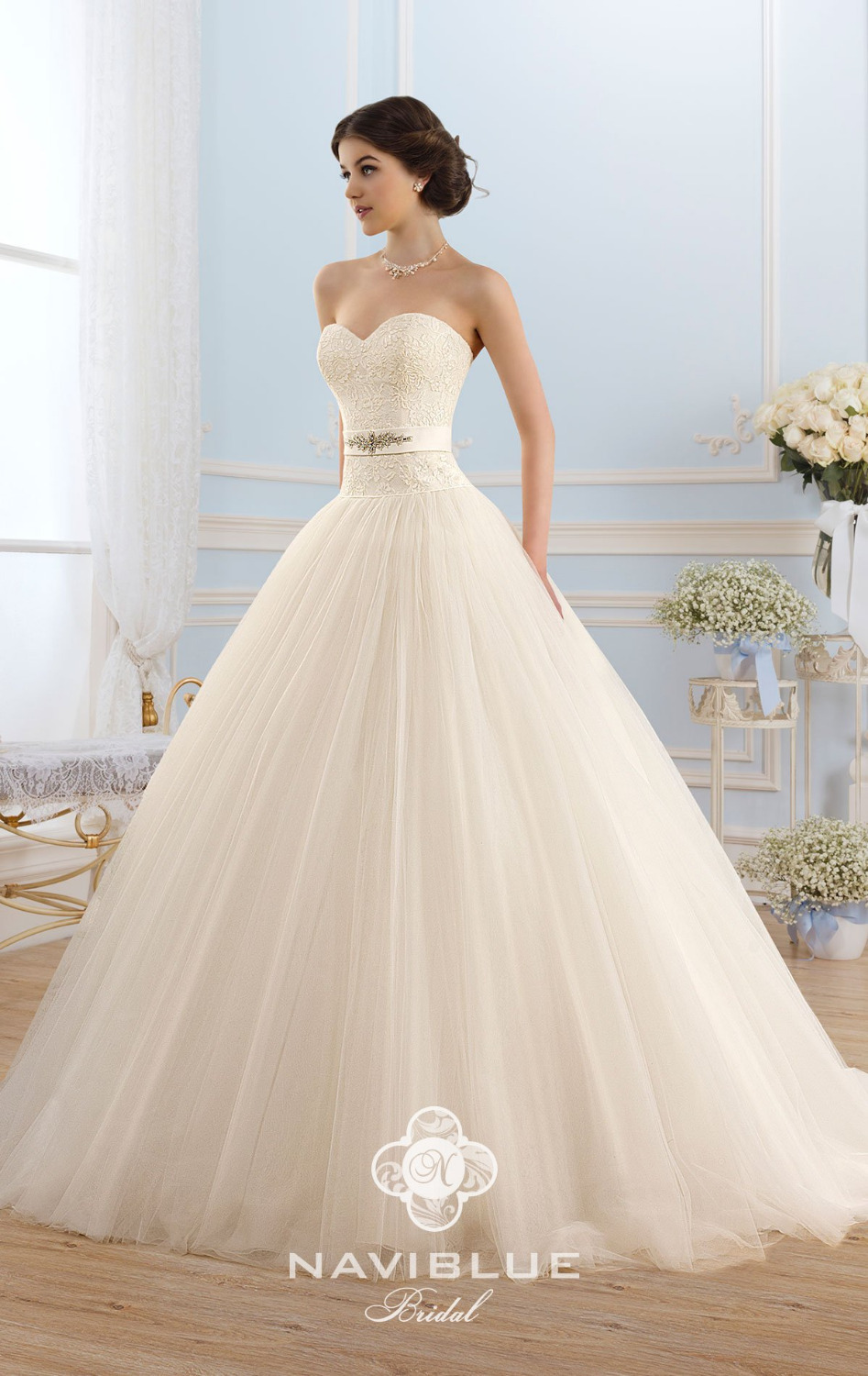 Ivory Wedding Dress Promotion Ball Gown Off Shoulder Lace Up Tulle Dresses 2017 New Arrival Bridal Gowns Princess In From
