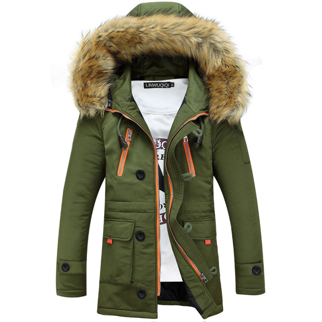 Casual detachable large fur collar decorated waist drawstring men's winter down jacket Korean Slim long hooded men's jacket