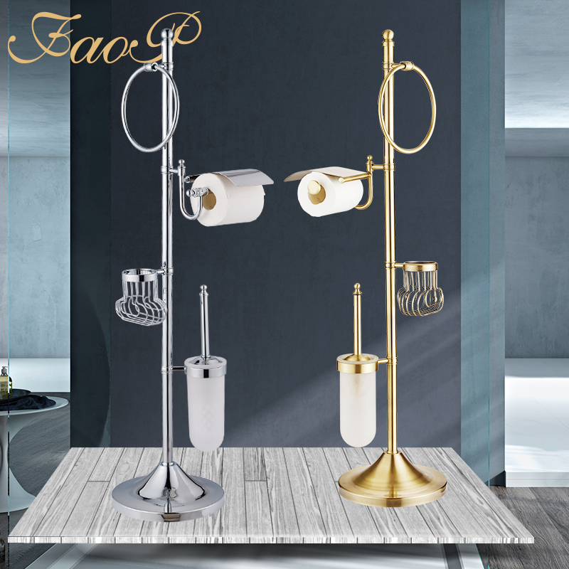 FAOP Bath Hardware Sets chrome Bathroom brush holder Tissue Holders Bathroom Accessories set Toilet Paper Holder