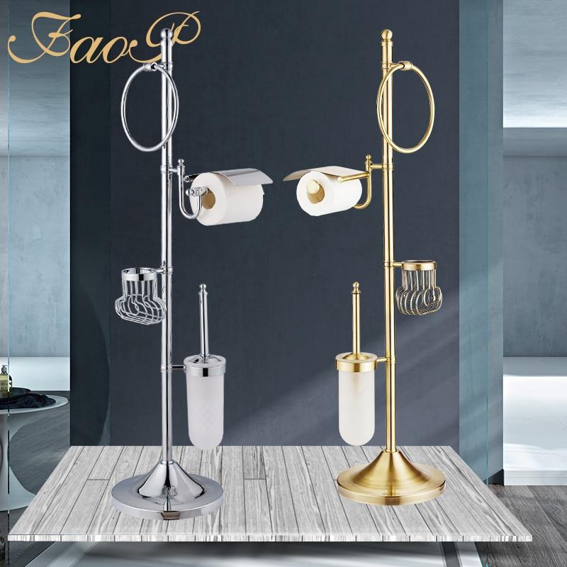 FAOP Bath Hardware Sets Chrome Bathroom Brush Holder Tissue Holders Bathroom Accessories Set Toilet Paper Holder