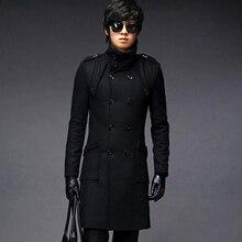 Оптом и в розницу Мужской плащ хорошего качества размера плюс двубортное длинное шерстяное пальто зимние куртки