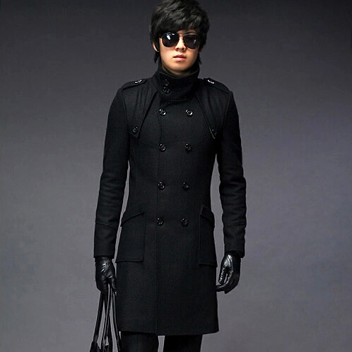 Wholesale & Retail men's Trench Coat With Good Quality Plus Size double-breasted Long Woolen Coat Winter Jackets Free Shipping
