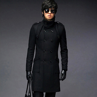 Wholesale & Retail men's Trench Coat With Good Quality Plus Size double breasted Long Woolen Coat Winter Jackets Free Shipping