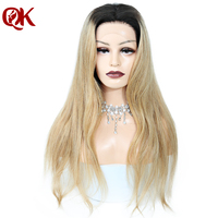 QueenKing Hair 150% Density Brazilian Ombre 1B 27 lace front wig Golden Blonde Remy Hair Free Shipping