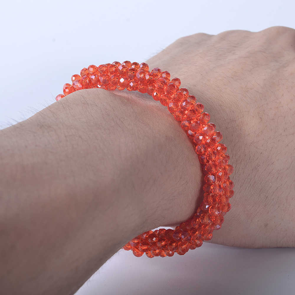Bohemian Crystal Strand Beads Elastic Bracelets Bangles Multicolor Round Stretch Bracelet For Women Men Fashion Jewelry pulseras