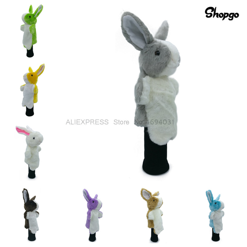 8 Colors Cartoon Rabbit Golf Head Cover Fairway Woods Hybrid Animal Golf Clubs Headcover No For Driver Mascot Novelty Cute Gift