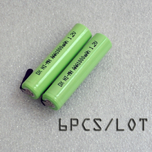 6PCS/LOT 1.2V AAA battery 1000mah 3A 10440 ni-mh rechargeable cell with pins for Philips Braun electric shaver razor toothbrush